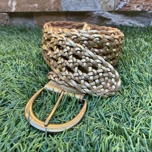 """Hollister Leather Woven Braided 2"""" Belt Gold XS/S"""